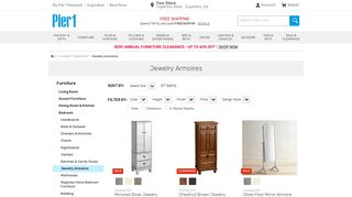 Pier1 Mirrored Jewelry Armoire
