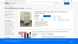 eBay Mirrored Bedroom Furniture
