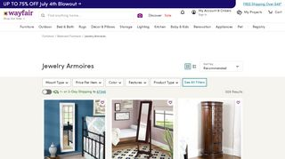 Wayfair Mirrored Jewelry Armoires